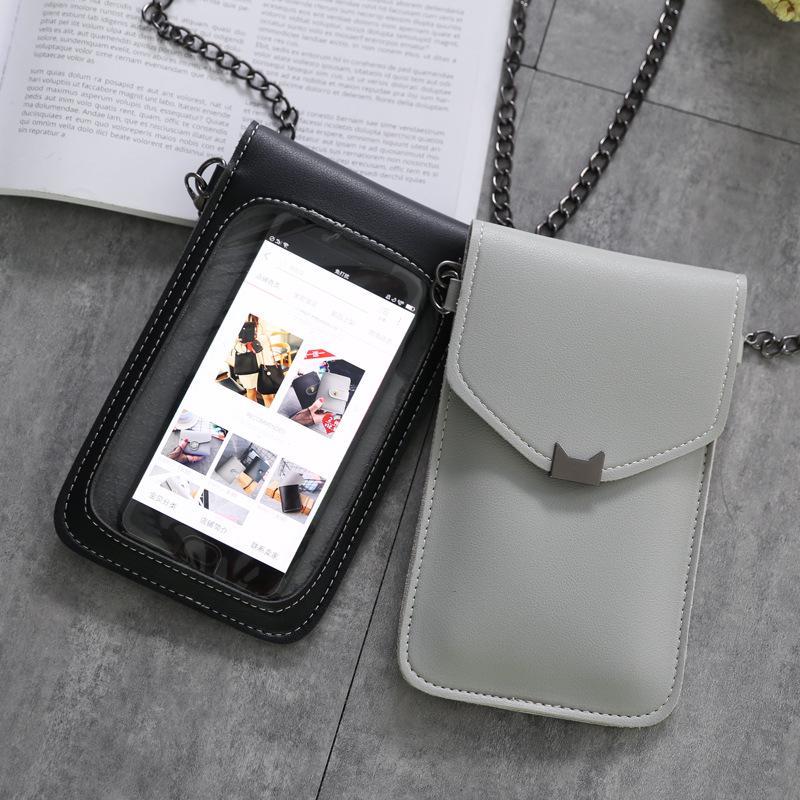 Cat Ухо Кросс-тело сенсорный экран сотового телефона плечо мешок Кожаный мешок Телефон Дело – купить по низким ценам в интернет-магазине Joom