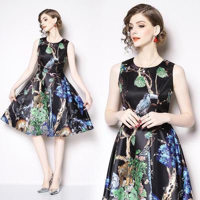 40e076a542e S-3XL платье без рукавов цветочные для женщин лето элегантные середины  lonng черный моды платья
