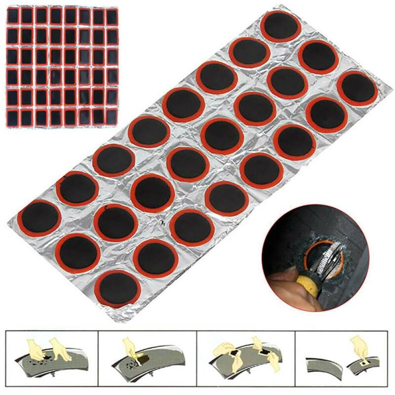48Pcs Square Rubber Puncture Bicycle Bike Tire Tyre Tube Repair Piece Patch Kit