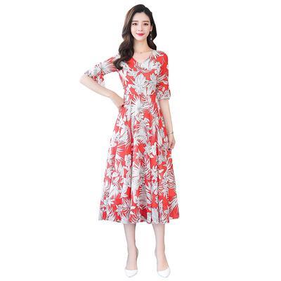 3e62d9d97f95159 Лето новый середине талии труба рукав цветочный принт линия юбка сладкий  богемный платье женщина