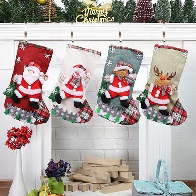 4pcs Christmas Stocking Large Xmas Gift Bags Fireplace Decoration Socks New Year Christmas Decor for Home