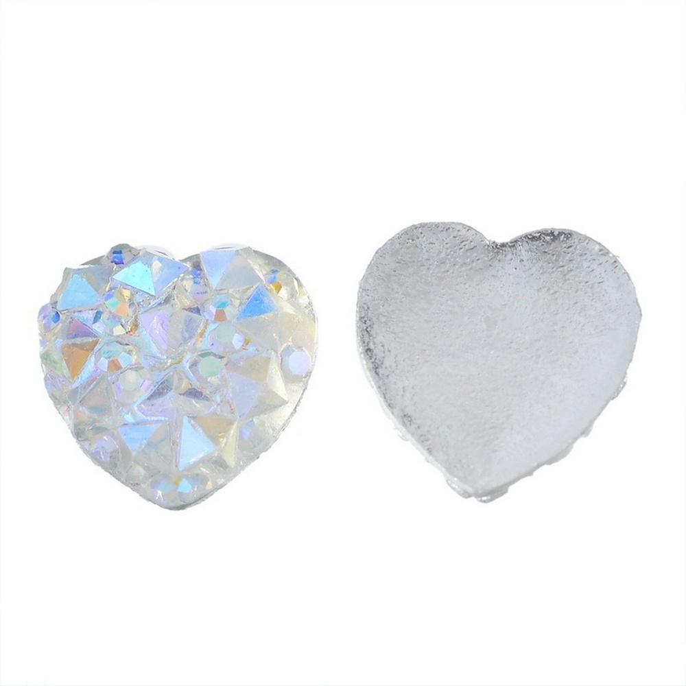 100Pcs Nail Art 3D Silver Heart Shape Faced Flat Back Resin Charm Beads 10mm A