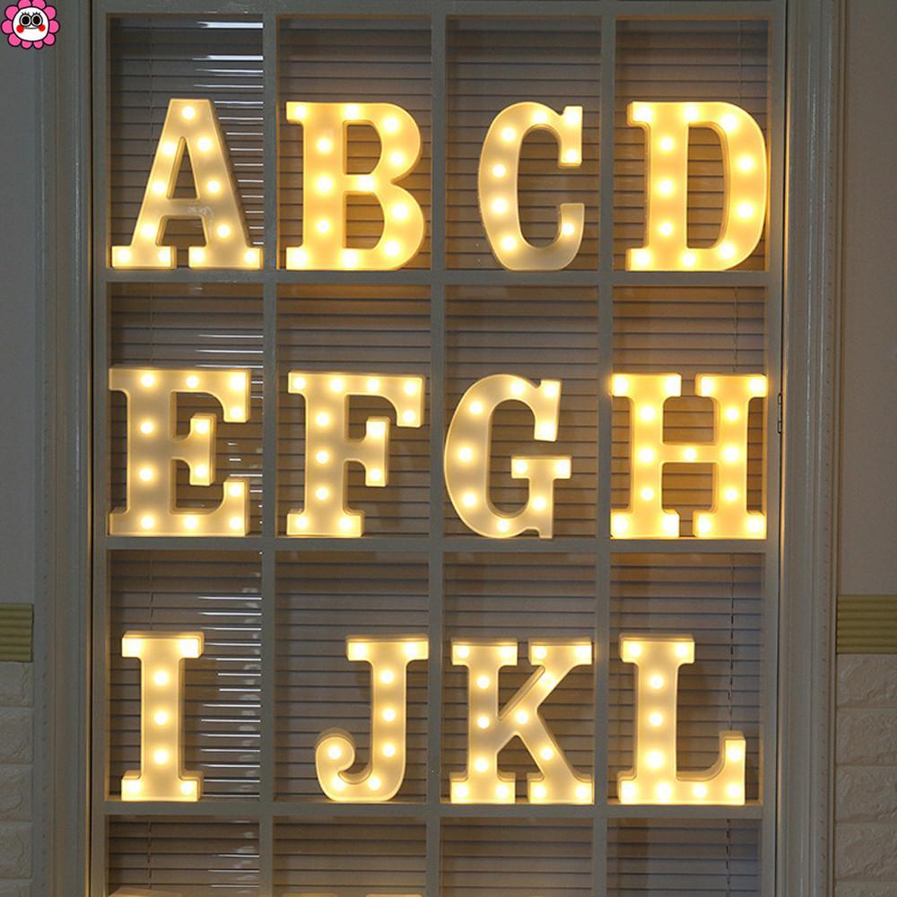 ALPHABET LED LETTERS LIGHT UP NUMBERS WHITE PLASTIC LETTERS STANDING DECOR Je