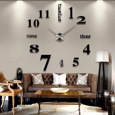 Colormelody Acrylic Modern DIY Wall Clock 3D Mirror Surface Sticker Home Office Decor