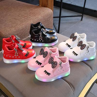 Kids Sneakers Baby Infant LED Luminous Girls Crystal Bowknot Boots Sport Shoes