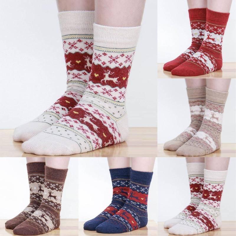 Женщины зимние носки прекрасный олень шаблон аксессуары теплая шерсть плюшевые лодыжки чулочно-носочных изделий Рождественский подарок – купить по низким ценам в интернет-магазине Joom