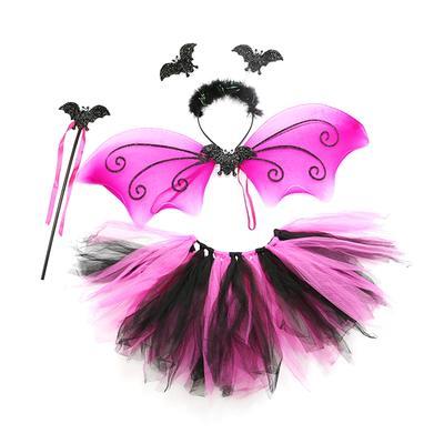 Tutu Headpiece Halloween Fancy Dress Wings Ladies Complete Scary Bat Set