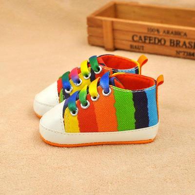 61d88e0ed Младенца девочек мягкого хлопка единственным противоскользящим обувь дети  мода малышей Холст обувь