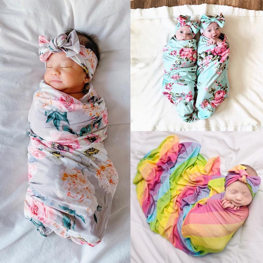 bandeau UK Newborn Baby Floral Swaddling Blanket Infant tissu Swaddle Wrap