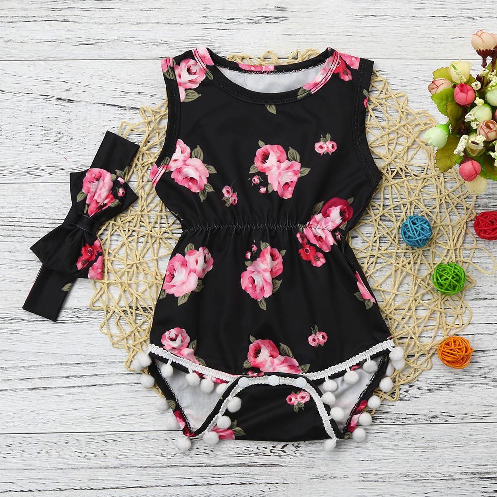 Infant Baby Girls Ruffle Long Sleeve Romper Jumpsuit with Floral Bubble Shorts Headband Set 3pcs 0-18M
