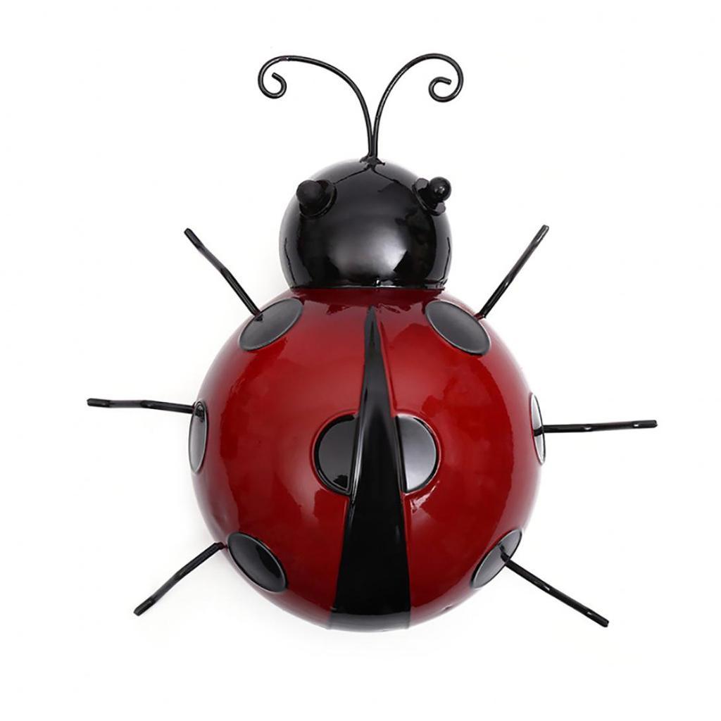 Mini Red Ladybug Fence Hanger Wall Hanging Outdoor Garden Decor 10cm