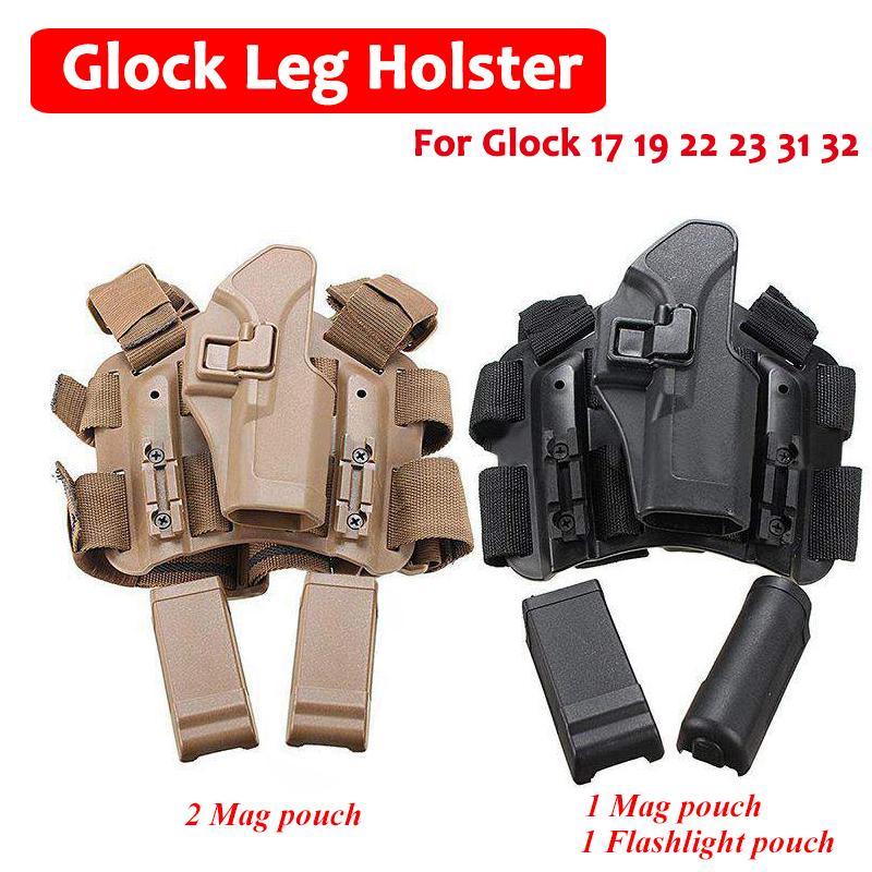 Tactical Leg Holster Black Drop leg HOLSTER Security Police LEFT HANDED