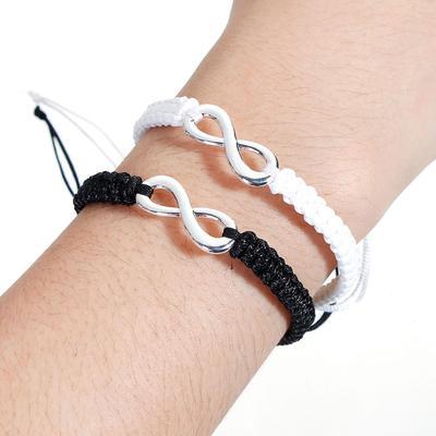 3d30b5dc2bad Trenzadas de poliéster saludó cadena amistad pulseras Color Plata negro  infinito símbolo 29cm (11 3