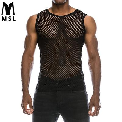 963c908de32339 Men s Sexy Vest Mesh Tank Top Summer Vest Casual Tank Top Muscle Top Blouse