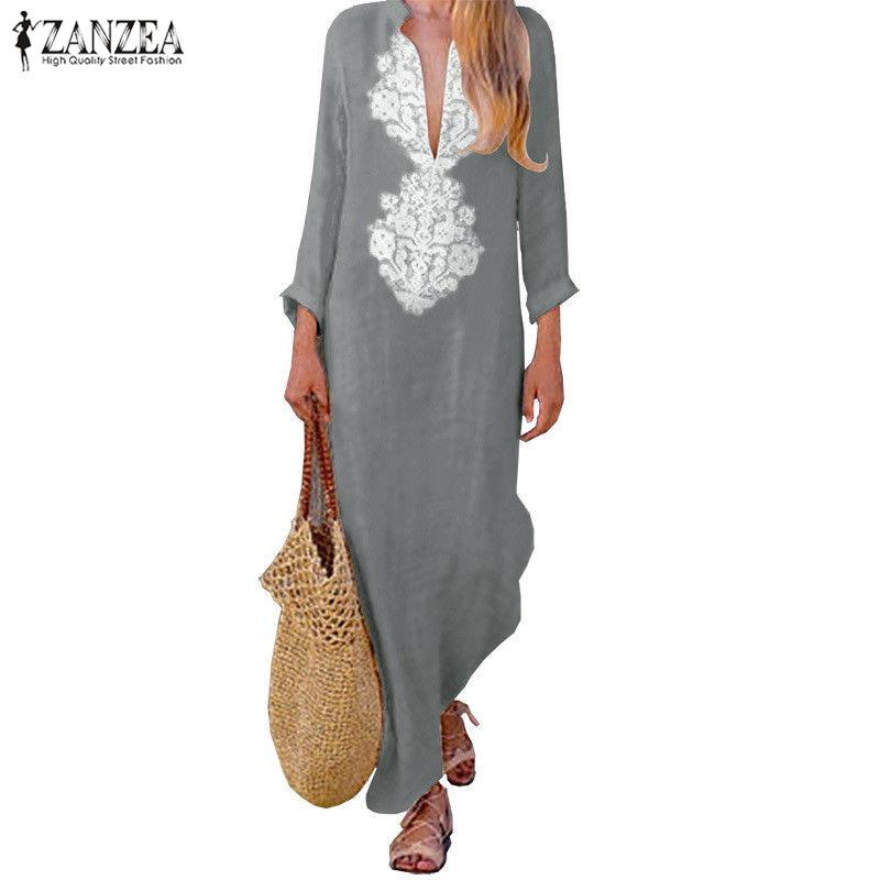 ZANZEA Womens V-Neck High Low Ruffle Midi Sundress Check Plaid Split Shirt Dress