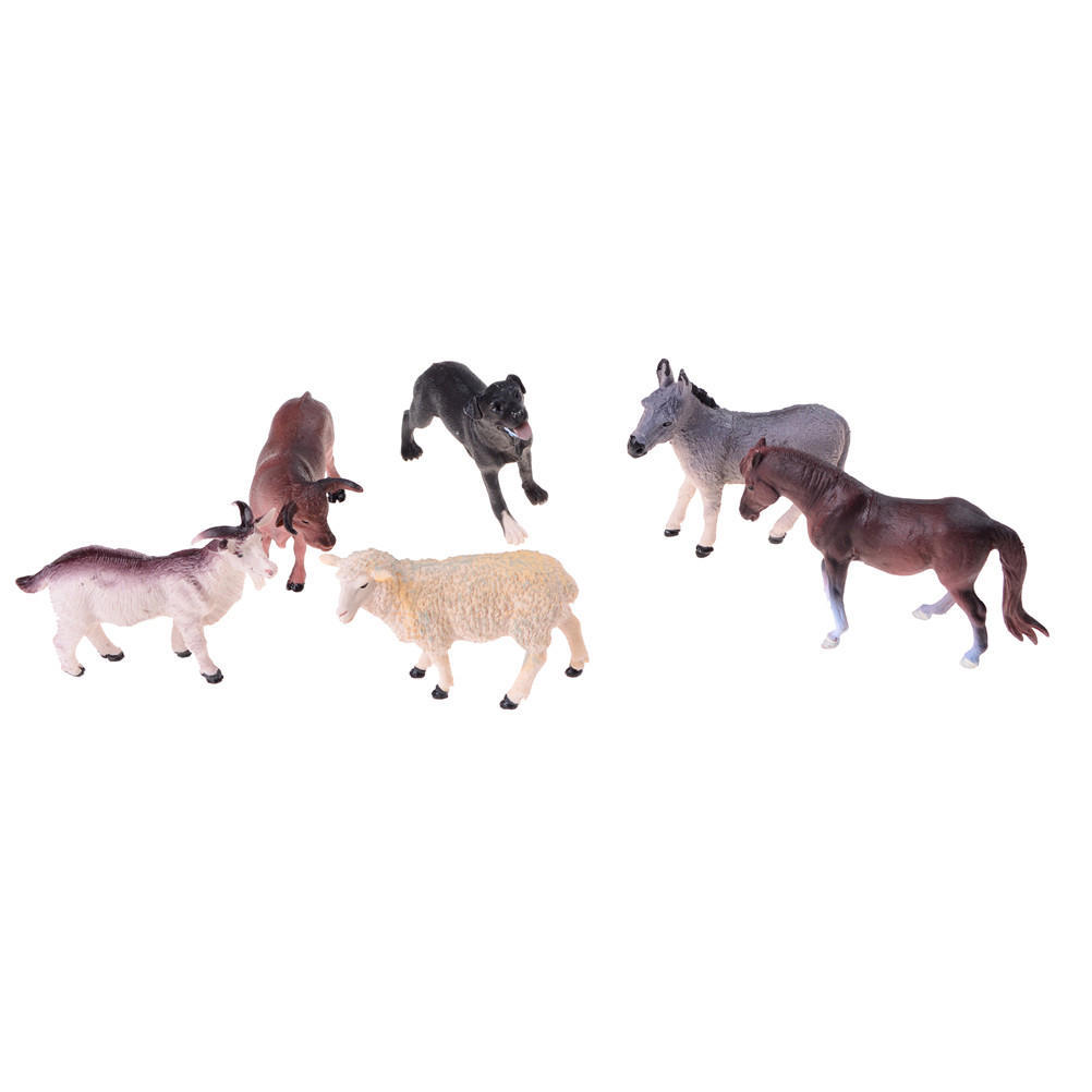 New Pack 6 Pieces Plastic Farm Animal Figure Toy  Kids Fun Horse Cow Sheep Pig