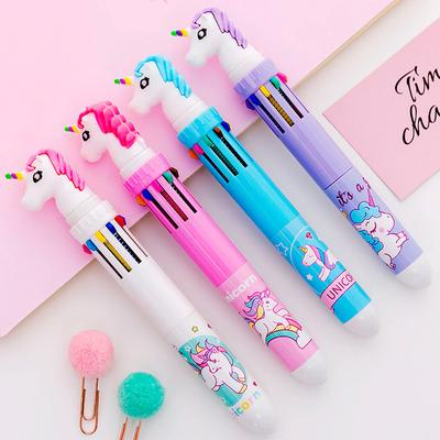 10 Colors In 1 Presse Cartoon Unicorn Gel Pen Colorful 0.5mm Ballpoint Pens for Student Stationery
