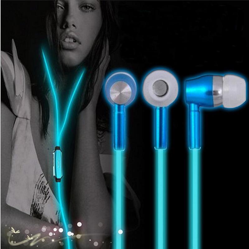 金属发光耳机入耳式夜光有线耳机万能通用带麦 重低音乐耳机