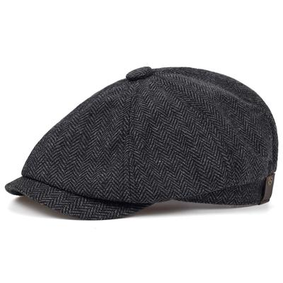 New Fashion Brown Plaid Beret Male Cotton% Hip Hop Hat Autumn and Winter Street Casual Hat