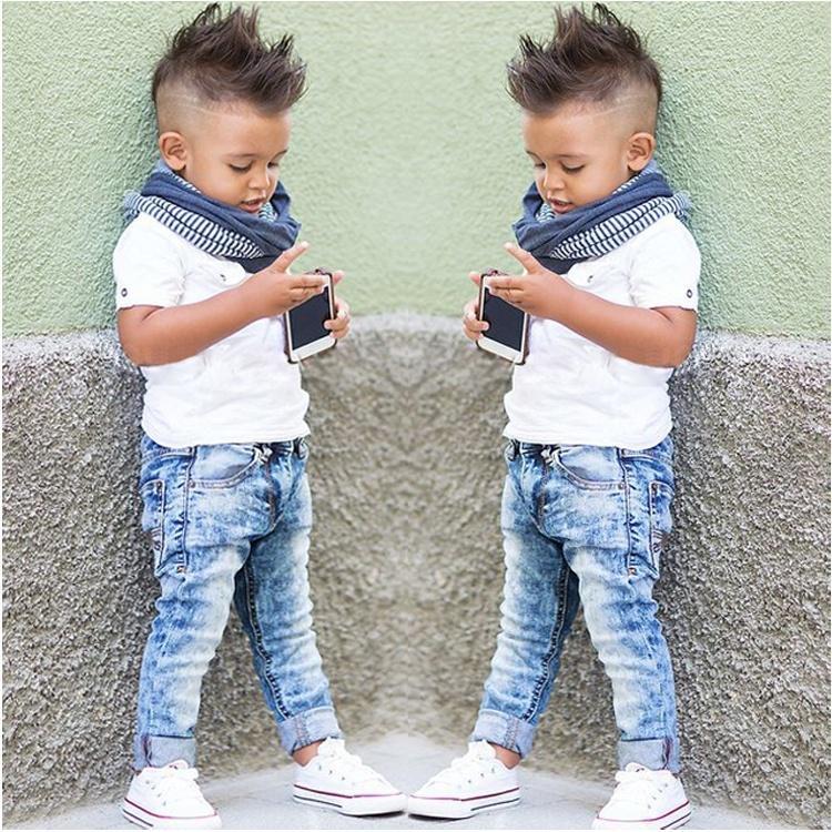 2PCS Toddler Baby Kids Boys Gentleman Tops Shirt Denim Pants Outfits Set Clothes