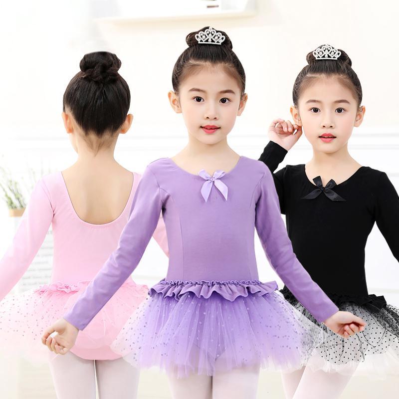 Tutu Dance Wrap Skirt Dress Elegent Girls Chiffon Ballet Long Sleeve Leotard