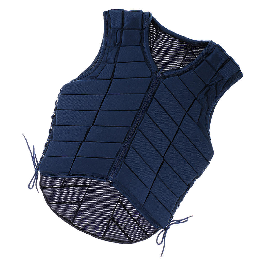 perfk Adults Equestrian Protective Vest Horse Riding Vest Body Protector Safety Waistcoat Dark Blue