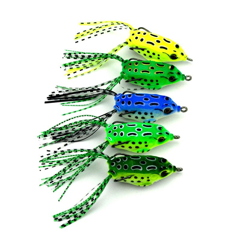 5Pcs 4.5cm 8g Frog Lure Fishing Lures Treble Hooks Artificial Top Water Ray Frog