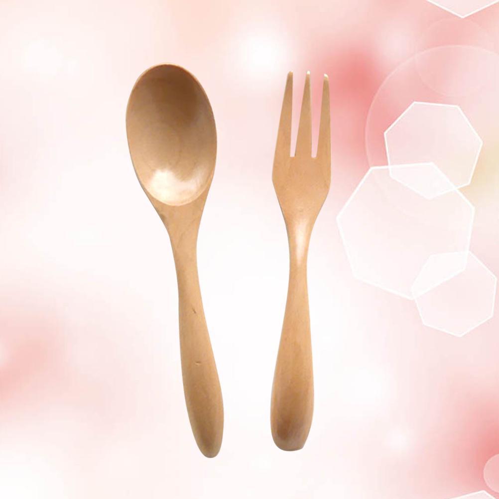 Portable Natural Wood Spoon Fork Chopsticks Set Long Handle Flatware Utensil