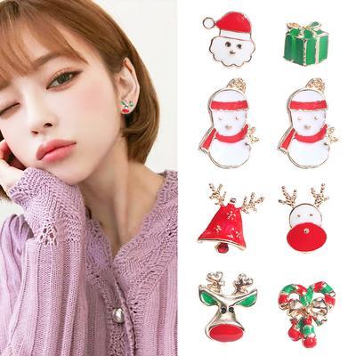 61dd7fd50 1Pair bonito dos desenhos animados Stud brincos Elk árvore de Natal meias  moda joias presente de