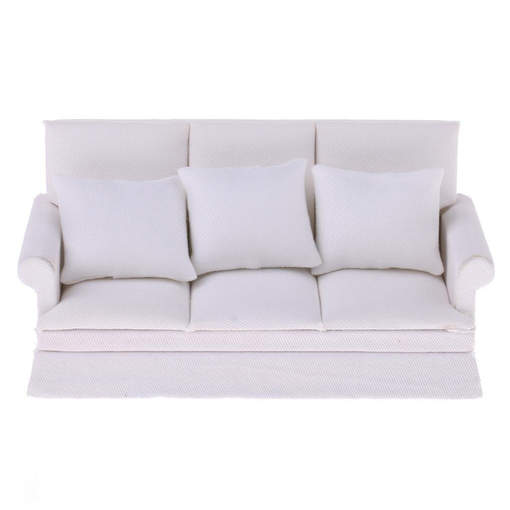 3 Sets 1//12 Dolls House Furniture Sofa Couch Cushions Kit Flower Patterns