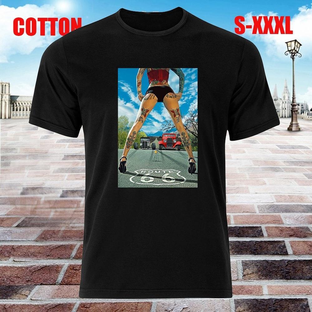 Rod V8 ventilador ruta 66 para hombre negro camiseta algodón manga ... 46fadb5078d14