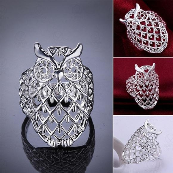 Женщины мода сова полые палец кольцо довольно милые Мода аксессуары подарочные фото