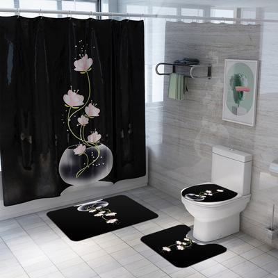 4pcs Beach Bathroom Set Shower Curtain Toilet Seat Cover Bath Mat+Non-Slip Rug
