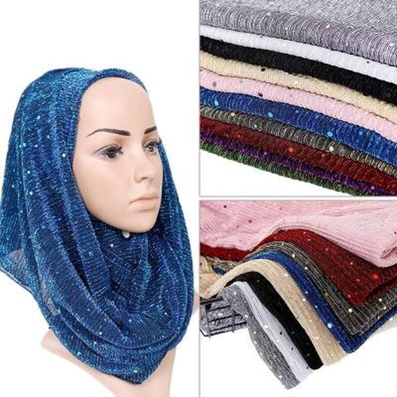 Elegant chiffon glitter Hijab scarf wrap shawl occasion Party wedding muslim