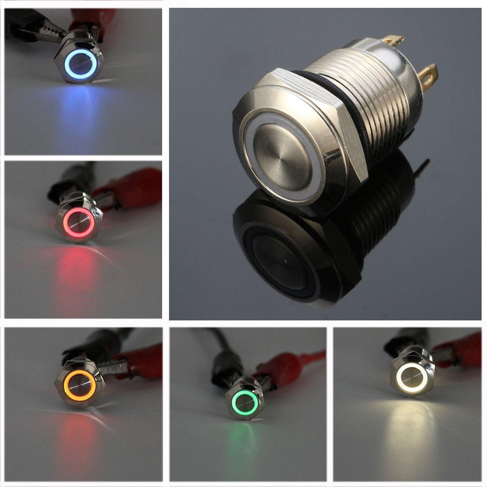 【包邮】12MM 金属按钮 LED灯 高头平头 自锁 防水按钮开关