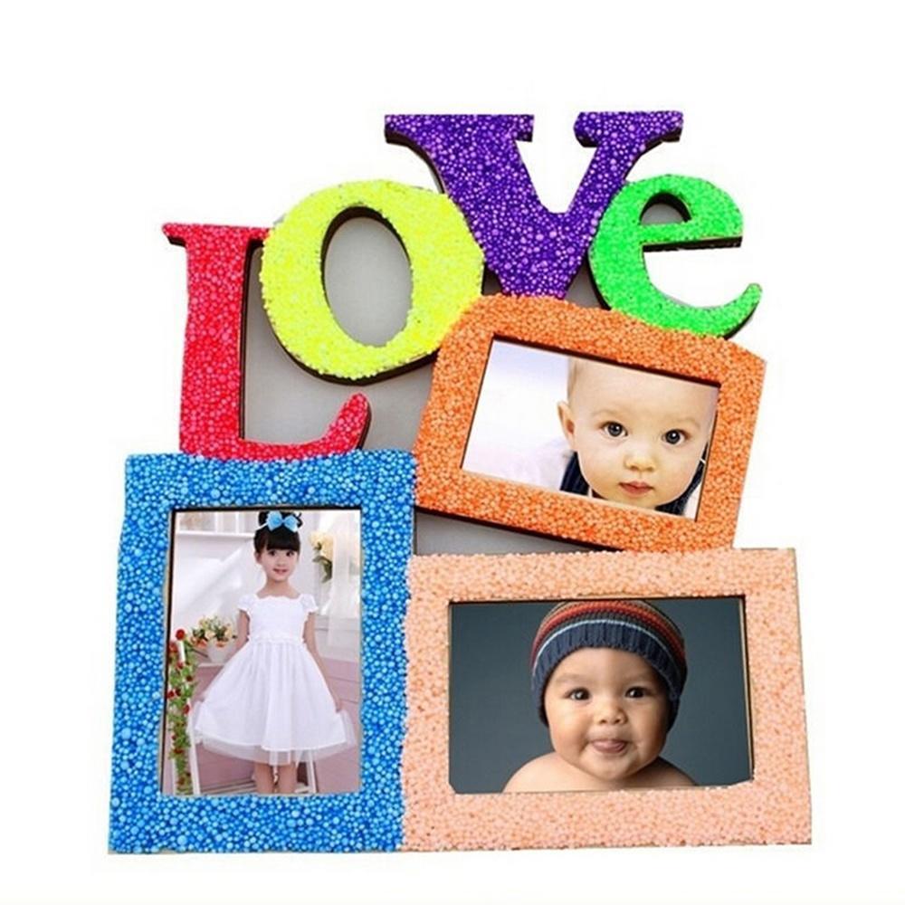 Hueco de madera con Retro amor múltiples marcos de fotos para boda ...