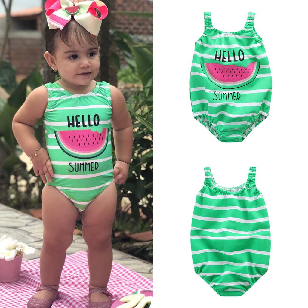 Bokeley Baby//Toddler Girls Watermelon Striped Print One Piece Swimsuit Romper Bathing Suit Beach Swimwear
