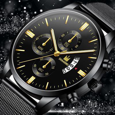 Fashion Men'S Watch Luxury Stainless Steel Men'S Quartz Watch Waterproof Men'S Sports Watch