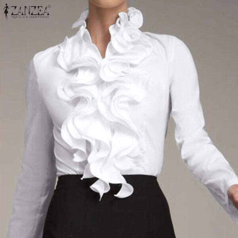 Zanzea S Xxxl Elegant Ruffle Blouse Women Long Sleeve Button Down Ol Shirts Casual Formal Tops Buy From 13 On Joom E Commerce Platform