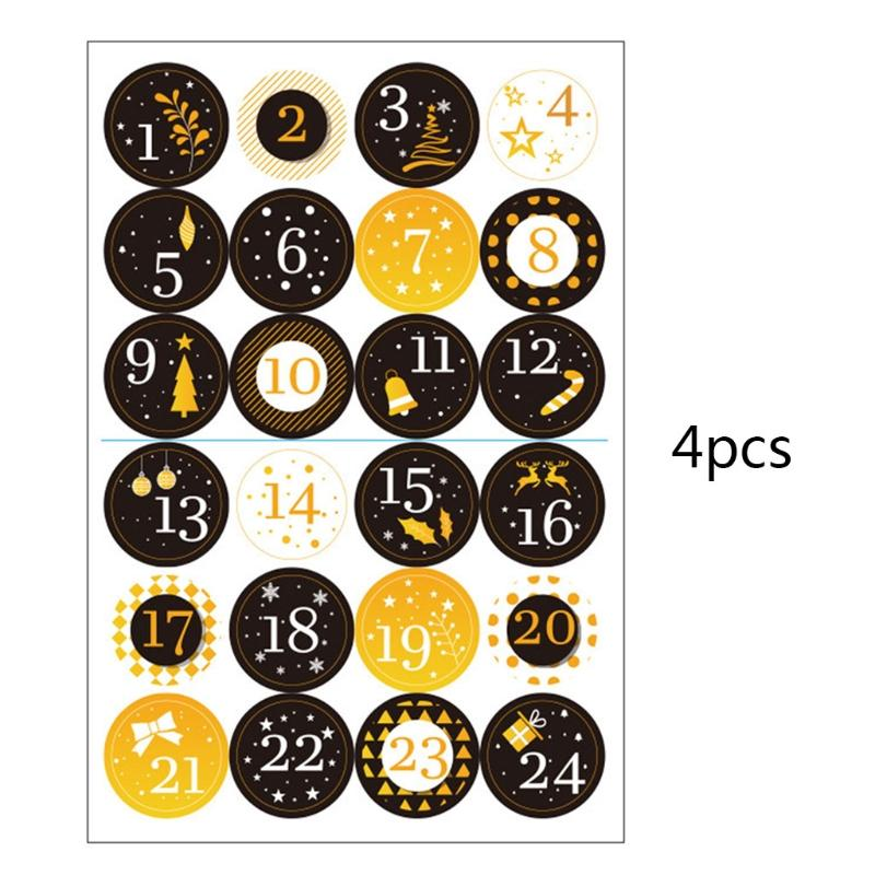 Advent Calendar Paper Stickers for DIY Gift Packaging Labels Decor Merry Christmas Gift Number Stickers Adhesive Label 4 Sheet//Set