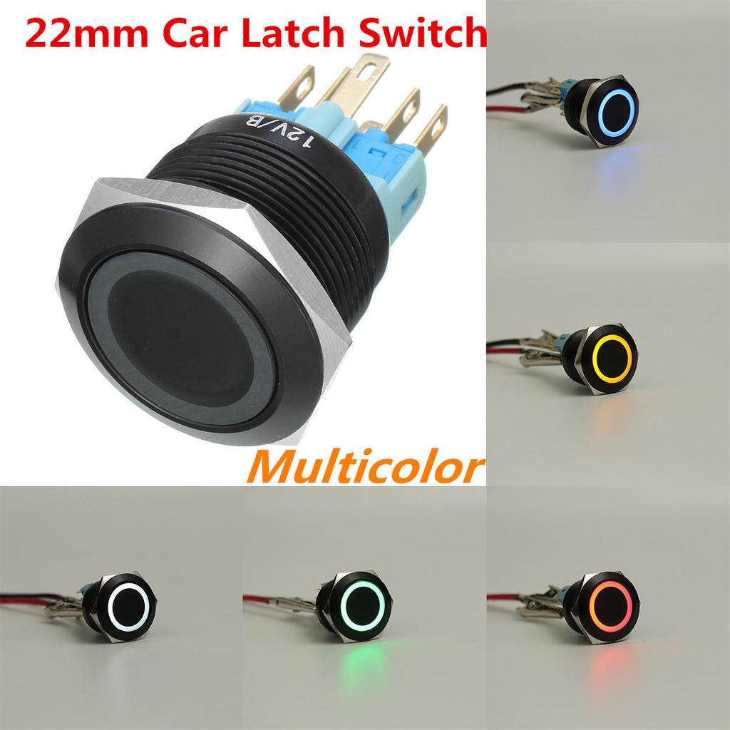 5 x Green Round 12mm Push Button Switch Latching NO Normal Open OFF-ON 2 Pin