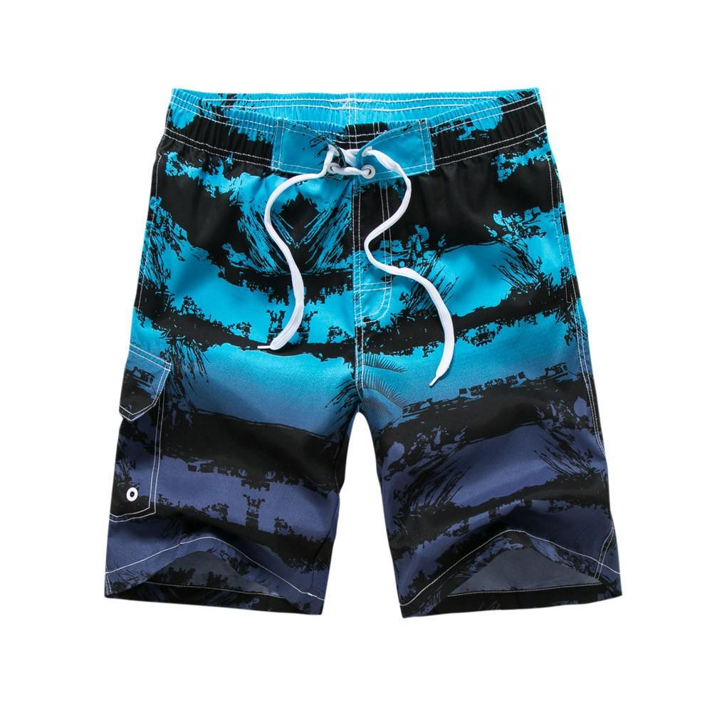 夏季新款男士户外休闲五分裤条纹撞色印花海边速干宽松短裤