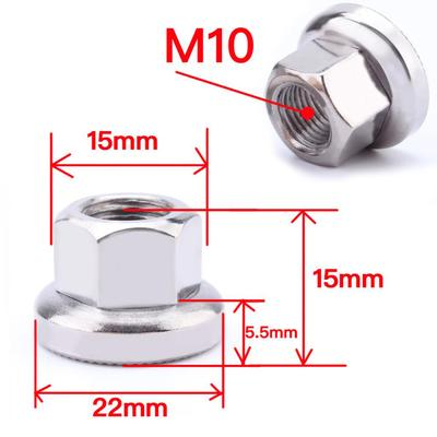 4x Steel M10 Bike Flange Fixed Gear Nuts MTB Bicycle Repair Hardware Bolts