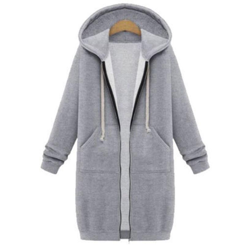 Womens Hoodies Sweatshirts Jacket Ladies Zipper Hooded Jumper Outwear Tops Coat