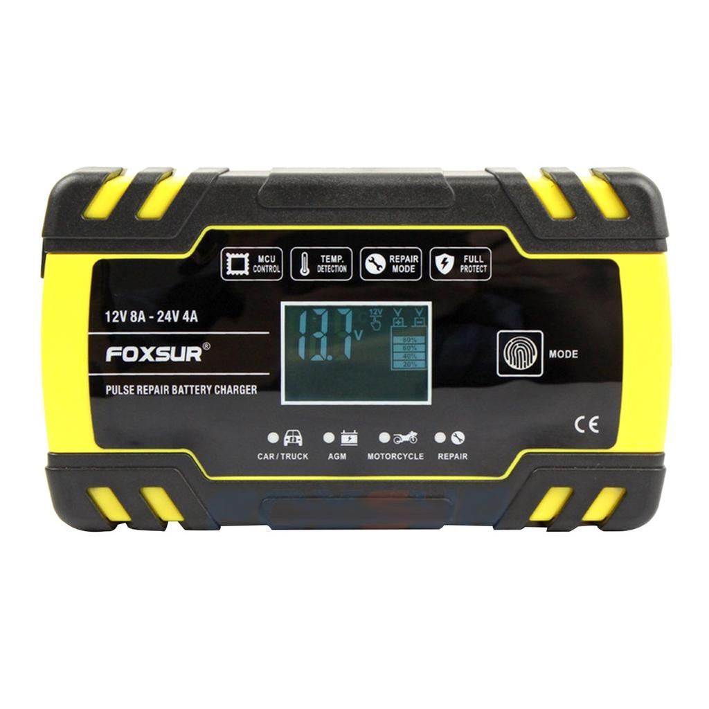 FOXSUR 12V24V LCD EFB AGM GEL Pulse Repair Battery Charger for Motorcycle Car ELECTRONIC
