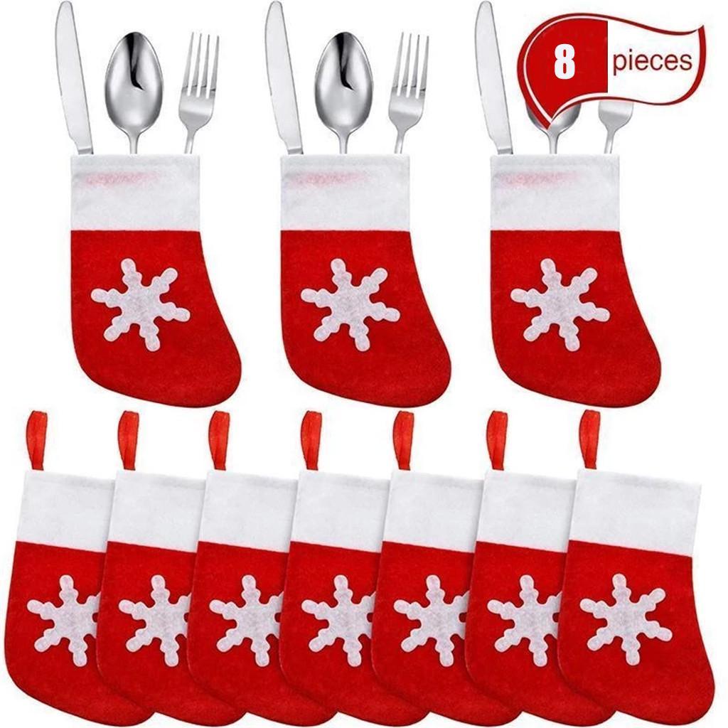 Christmas Decorative Tableware Fork Covering Bag Set Bags Cutlery Hat Xmas L0Y7