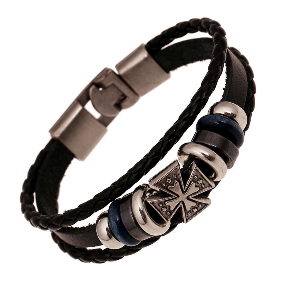 мужские кожаные браслеты браслет моды многослойных крест браслет