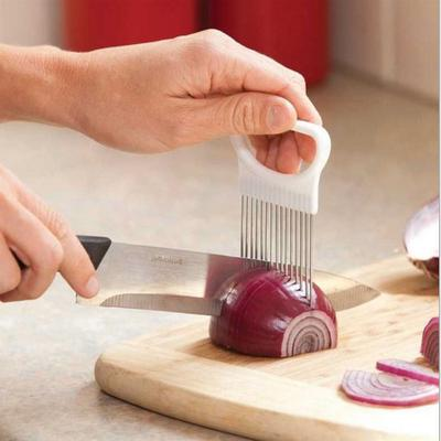 Fruit Gadget Handy Stainless Steel Onion Holder Potato Safety Cooking Tools Slicer Cutting Aid