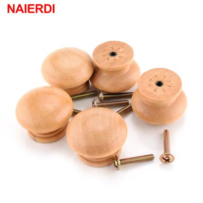 Wooden Round Shaped Cabinet Cupboard Closet Drawer Pull Knob Handle 10Pcs