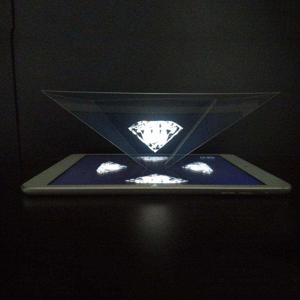 Potable 3D Holographic Hologram Display Pyramid Stand Projector For All Tablets